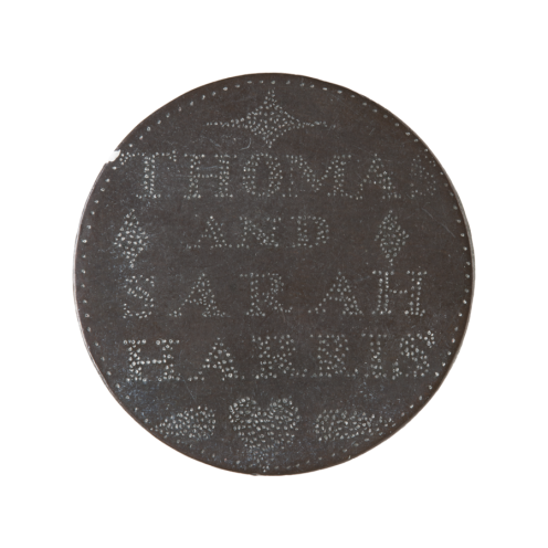 FRONT: THOMAS AND SARAH HARRIS BACK: 1841 DEAR WIFE FORGET ME NOT